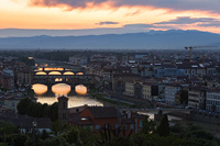 Sunset above the Arno river in town Florence in Tuscany, Italy