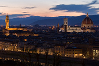 Old town Florence at night, Tuscany, Italy