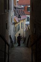 Lamp lighter -touristic attraction in city Zagreb, Croatia
