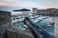 Dubrovnik port in dawn, Dalmatia, Croatia