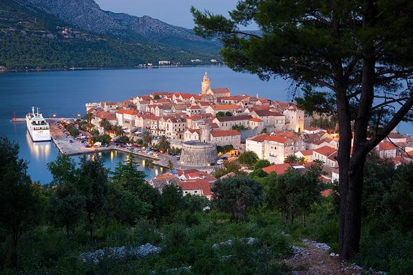 Korcula town in the evening, island Korcula, Dalmatia, Croatia