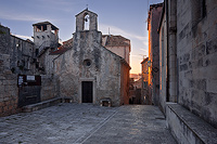 Church of St. Peter and Marco Polo's birth house in Korcula town, island Korcula, Dalmatia, Croatia