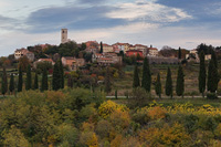 Beautiful old town Oprtalj in autumn colours, Istria, Croatia