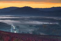 Motovun town valley in autumn fog in Istria, Croatia