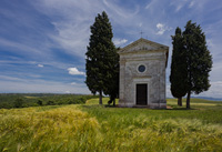 Famous chapel of Madonna di Vitaleta in Tuscany, Italy