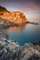 Small place Manarola in sunset, National Park Cinque Terre, Liguria, Italy