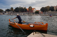 Afternoon shift of famous Zadar city Barkajol gondolier, Croatia