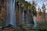 Autumn look of Small Fizzler waterfall, National Park Plitvice Lakes, Croatia