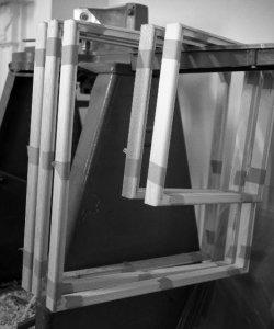 Making stretchers in Morag's print room