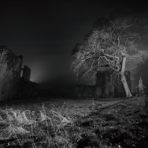 Abbey ruins at night