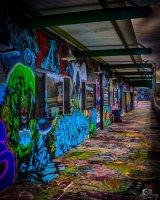 Colourful, graffiti decorated building