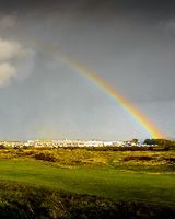 Rainbow over Prestwick Old Course panorama