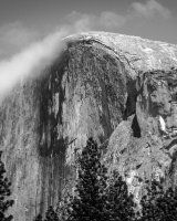 Half Dome Topped With Clouds