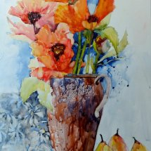 Red Poppies in Clay Jar