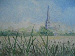 Salisbury Cathedral across meadows