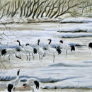 Red Crowned Cranes at Otowa Bridge