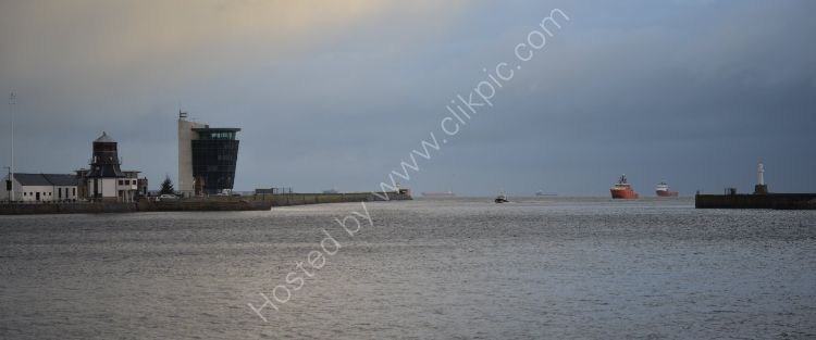 SCOTLAND - Aberdeen Harbour Entrance with Harbourmasters old and new offices