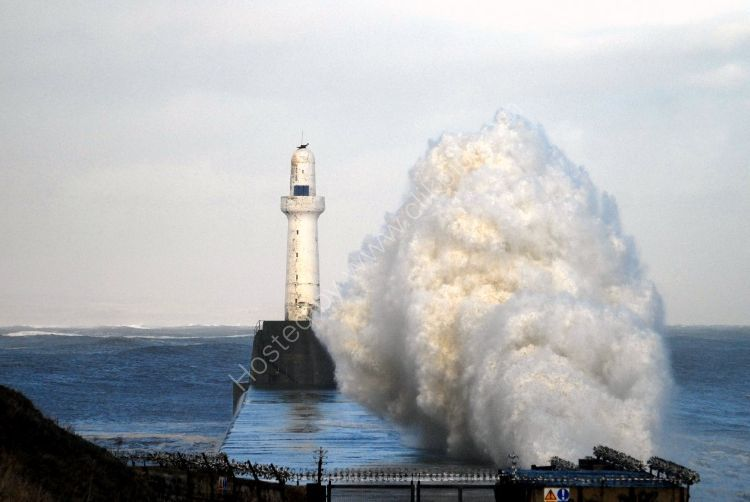 SCOTLAND - Breakwater Spray at Aberdeen Harbour (January Storm)