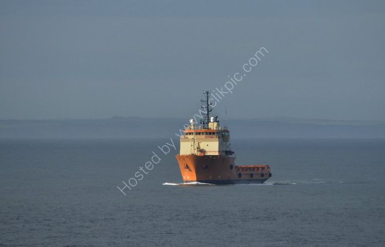 SCOTLAND - Supply Vessel approaching Aberdeen Harbour late afternoon