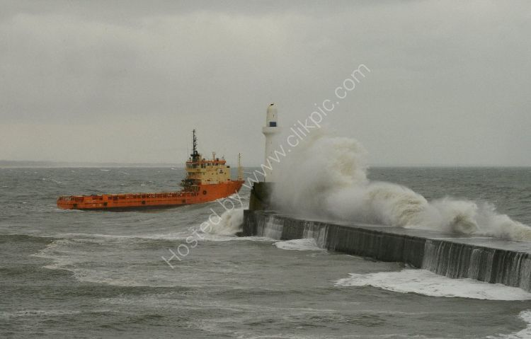 SCOTLAND Oil Supply Vessels heads off into the heavy seas