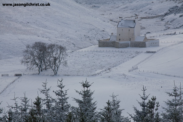 Corgarff Castle in snow