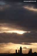 Winter sunset sunrays over central Glasgow skyline