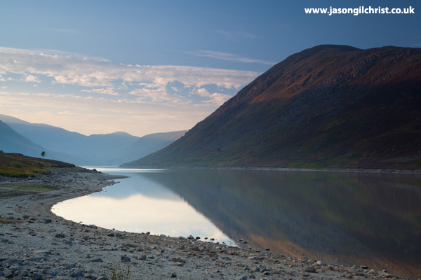 Evening reflections on Loch Turret Reservoir