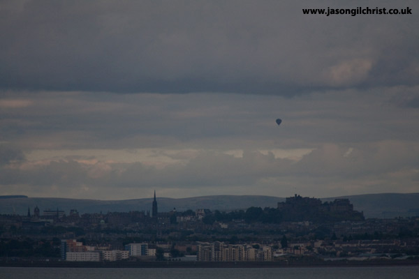 Hot air balloon over Edinburgh