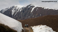 Hillwalkers in the snow of the Cairngorm Hills