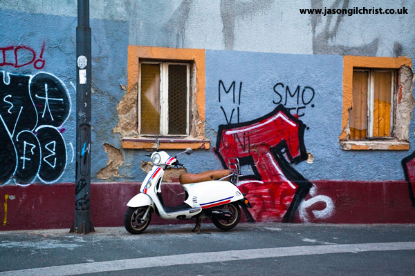 Moped and street graffiti, Zagreb