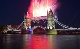 Olympic Fireworks on Tower Bridge