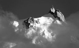 Aiguille Du Midi Above The Clouds (Black & White)