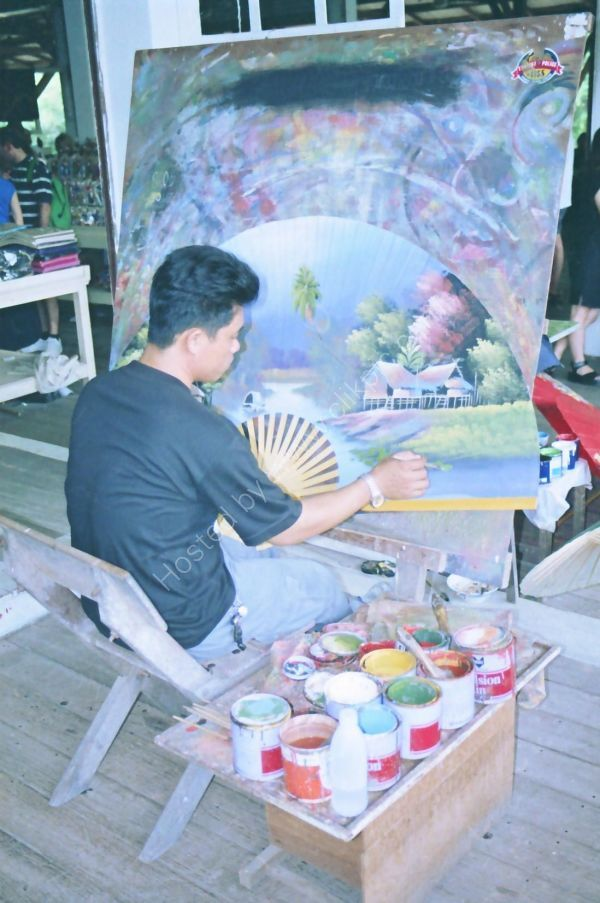 Umbrella Painter, Floating Market, Bangkok