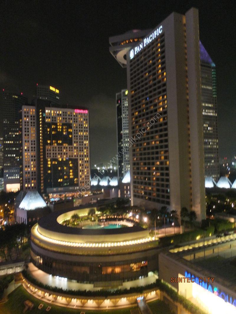 Conrad & Pan Pacific Hotels at Night, Marina Bay