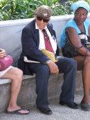 Cuban Man with Beret with Russian Flag!, Plaza Armas, Havana