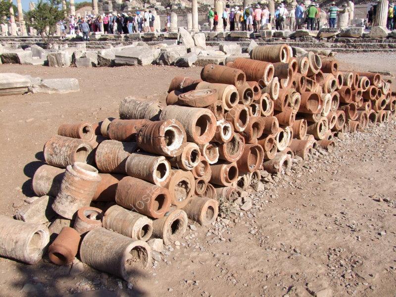 Roman clay water pipes, Ephesus