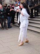 Guide outside Victoria & Albert Museum, Knightsbridge, London 22 February 2014