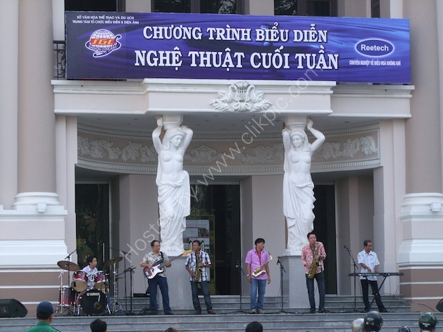 Sunday Band outside Nha Hat Thanh Pho (Opera House), Ho Chi Minh City