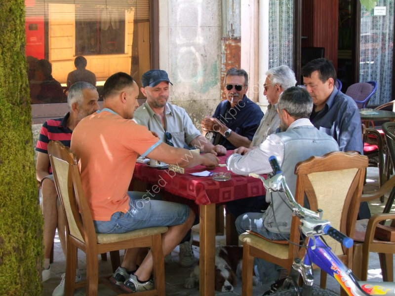 Montenegran Men playing Dominos, Cetinje