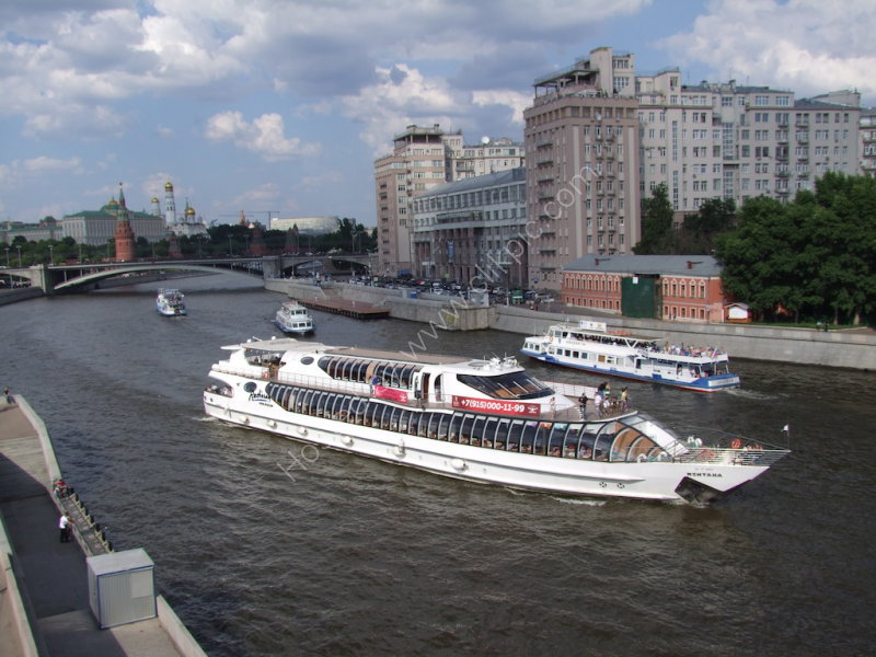 River Cruiser & Kremlin in background, Moscow