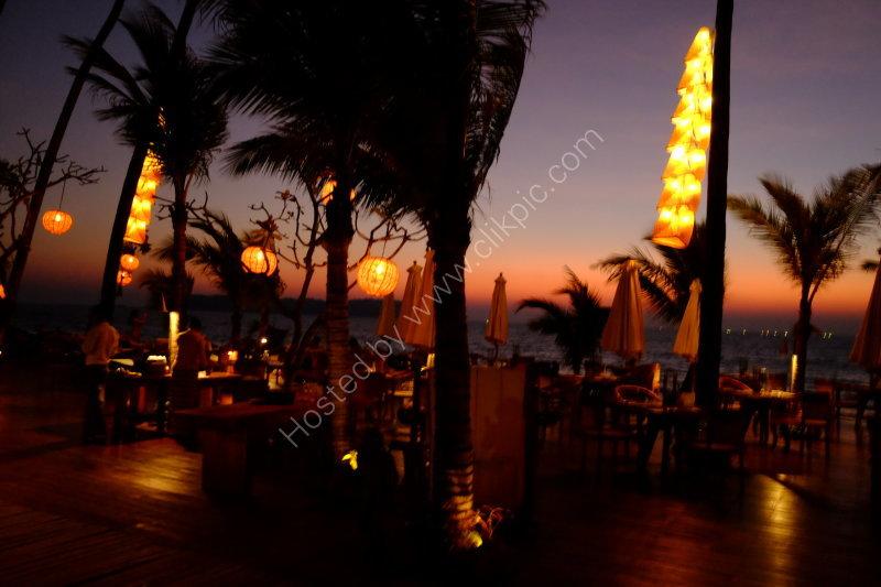 Ngapali Bay Villas Restaurant at sunset