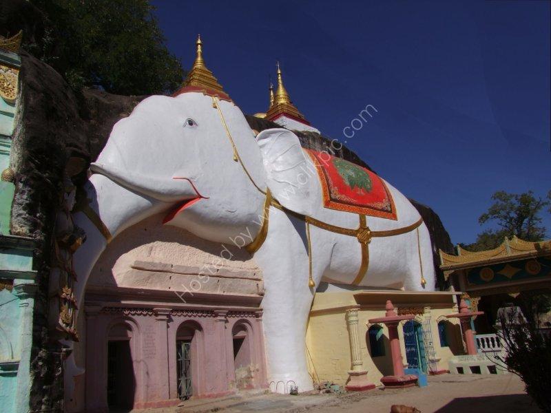 White Elephant at Pakokku Rock Cave Temples