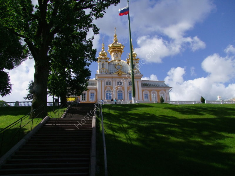 Separate Building at Peterhof & Russian Flag