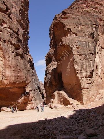 Exit from As-Siq Gorge to Al-Khaznet al-Faraoun (Treasury to the Pharaoh), Petra