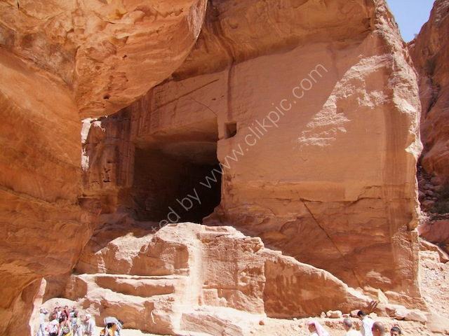 Large Man Made Cave in Outer Siq, Petra