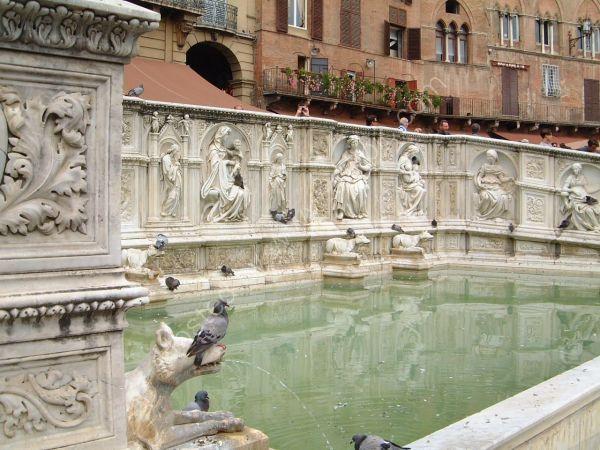 Fountain in Piazza del Campo, Sienna, Tuscany