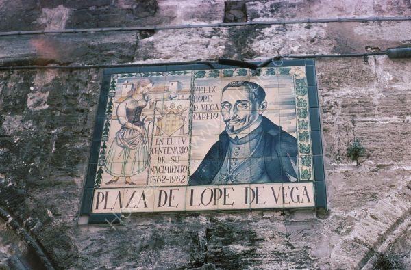 Sign to Plaza de Lope de Vega, Valencia