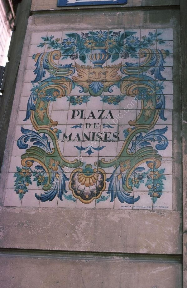 Sign to Plaza de Manises, Valencia
