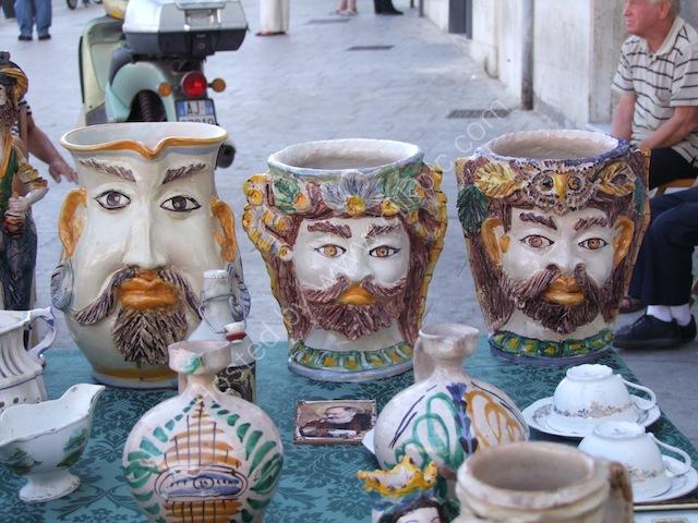 Strange Pottery Stall near Syracusa Market, Syracusa