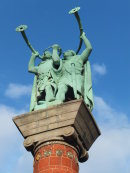 Statue of Viking Men with Horns